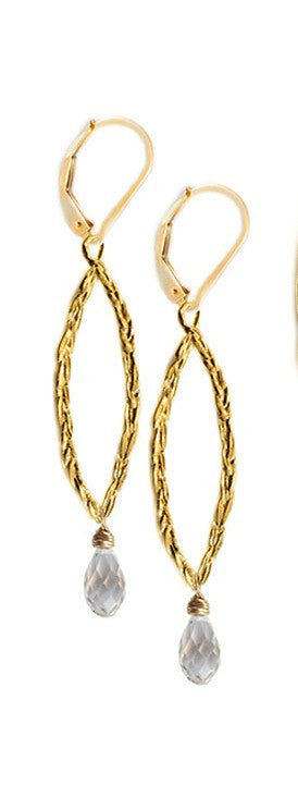 Amor Vincit Omnia Gold PEACE EARRINGS with Clear Crystal ~ Assorted sizes in Gold or Silver