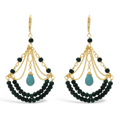 RHAPSODY CHANDELIER EARRINGS ( 2 tier) in assorted stones and crystals