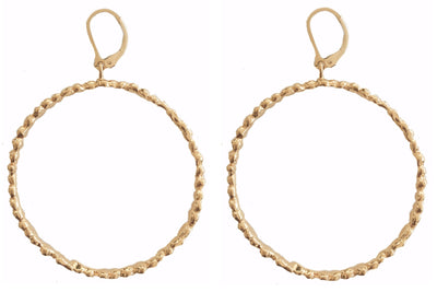 STEPPING STONE LARGE CIRCLE HOOP EARRINGS ~ Gold or Silver