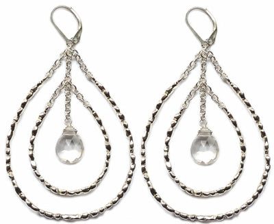 STEPPING STONE CHANDELIER EARRINGS, Silver with Crystal Drops
