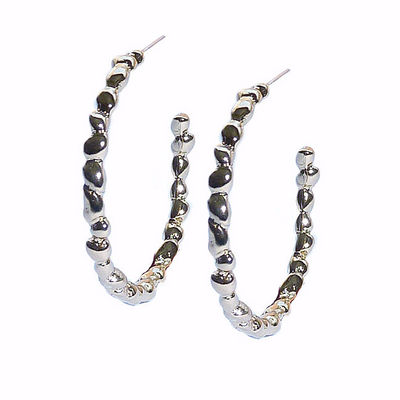 STEPPING STONE SMALL HOOP EARRINGS ~ Gold and Silver