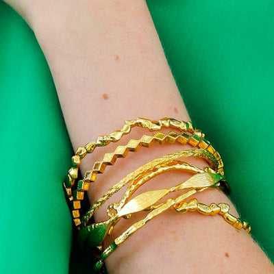 STEPPING STONE BANGLES- Polished or Matt Finish ~ Gold or Silver