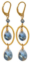 VERONA SLATE BLUE SWAROVSKI CRYSTAL EARRINGS