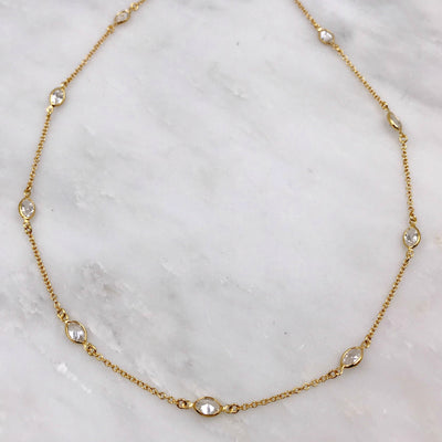 "ALLEGRA NECKLACE, Gold or Silver, assorted shapes in 18"", 36"" and 48"""
