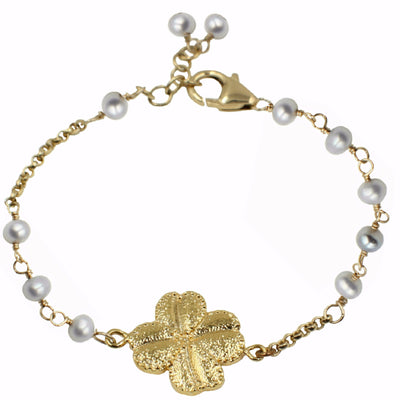 S&CTESTA CLOVER PEARL BRACELET - OH SO CHARMING,BRACELETS,CHARMS - vendor-unknown - S&CTESTA