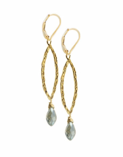 Amor Vincit Omnia Gold PEACE EARRINGS with Mint Crystal ~ Assorted Sizes, in Gold or Silver