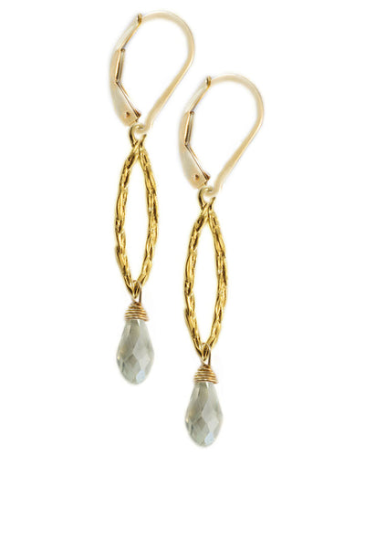 S&CTESTA Amor Vincit Omnia Gold PEACE EARRINGS with Mint Crystal ~ Assorted Sizes, in Gold or Silver - EARRINGS - SOPHIA & CHLOE - S&CTESTA