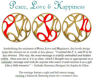 PEACE, LOVE & HAPPINESS MEDALLION EARRINGS, gold or silver
