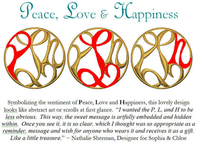 PEACE, LOVE & HAPPINESS MEDALLION NECKLACE, in gold or silver