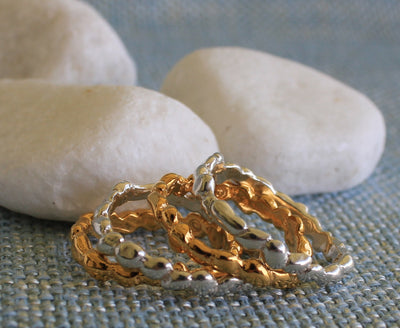 STEPPING STONE STACKABLE RINGS ~ Gold Vermeil or Sterling Silver