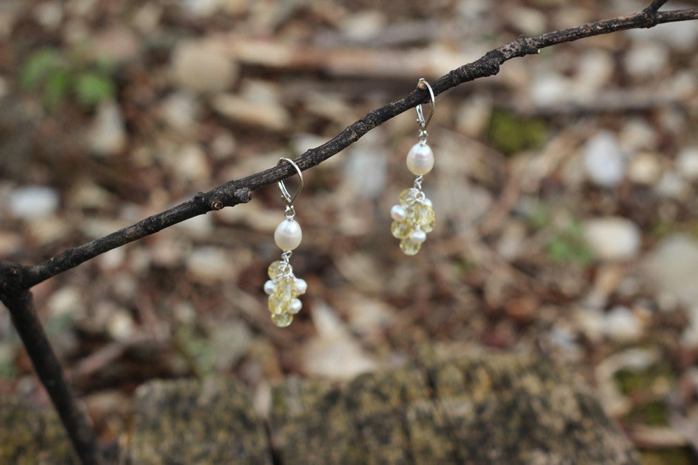 Pearl and Citrine Cluster Earrings