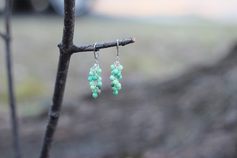 Chrysoprase Grape Cluster Earrrings