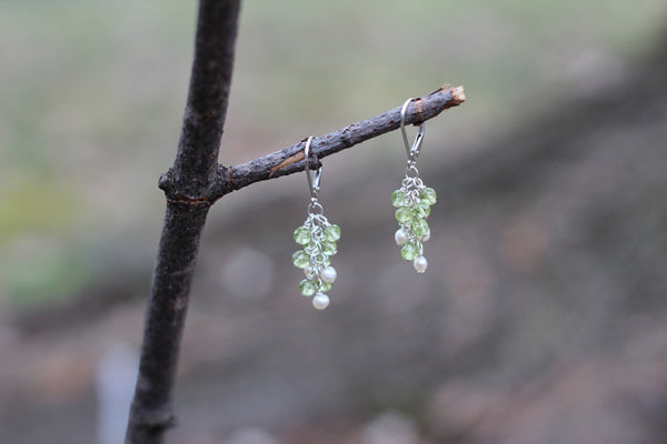 Peridot and Pearl Cluster Earrings