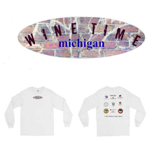 WINERIES/ovalmichigan/Long Sleeve T-Shirt/front-backprint/ - Retro Guy Apparel