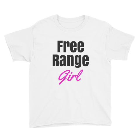 Free Range Girl / Parody / Youth Tee Shirt / Retro Guy Apparel