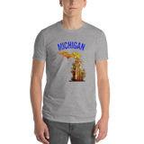Michigan/map/Short-Sleeve T-Shirt - Retro Guy Apparel