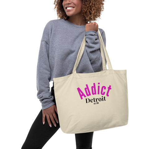 Addict/Detroit/Large organic tote bag - Retro Guy Apparel