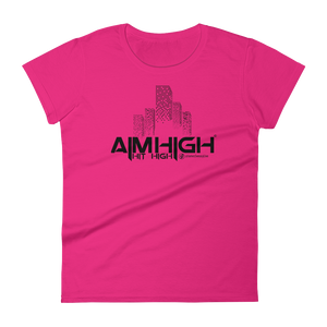 AIM HIGH Black Logo Ladies' Anvil T-shirt - SWEASY STREET COLLECTION - FREE SHIPPING
