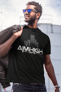 AIM HIGH White Logo Men's Anvil T-shirt - SWEASY STREET COLLECTION - FREE SHIPPING