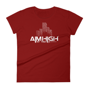 AIM HIGH White Logo Ladies' Anvil T-shirt - SWEASY STREET COLLECTION - FREE SHIPPING