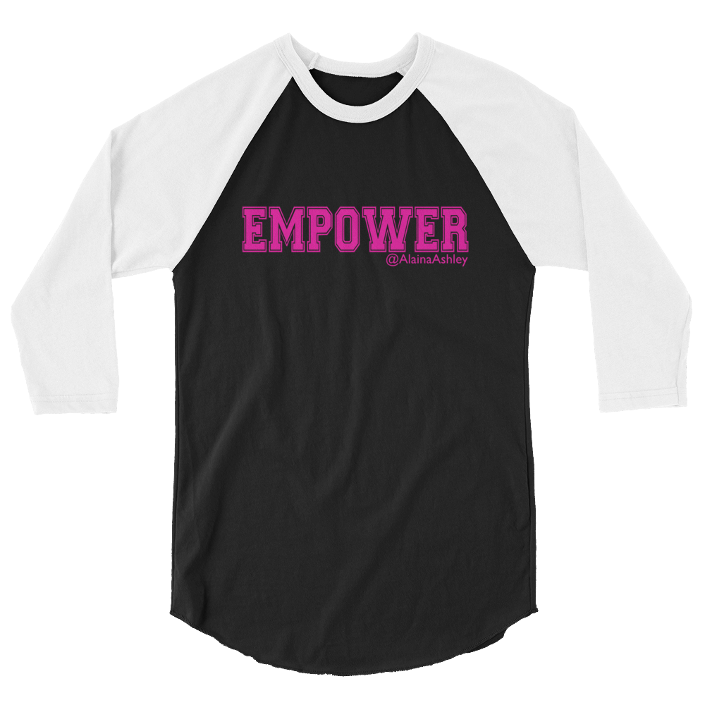 Empower Pink Logo Ladies' Tultex 3/4 Sleeve Raglan Shirt @AlainaAshley Collection