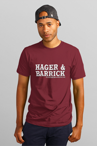 Hager & Barrick White Logo Men's Anvil T-shirt DO WORK! Collection by Hager & Barrick