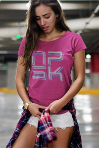 NPSK Grey Logo Ladies' Anvil T-shirt - Nate Provost Sober Krew Collection