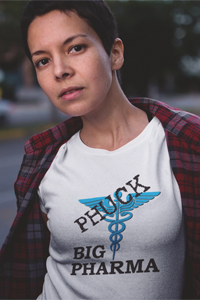 Phuck Big Pharma Black w/Blue Symbol Ladies' Anvil T-shirt