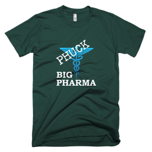 Phuck Big Pharma White w/Blue Symbol Men's American Apparel T-shirt