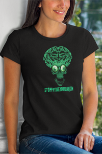 THE BRAIN Green Logo Ladies' Anvil T-shirt - Stop Frying Your Brain Collection