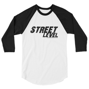 STREET LEVEL 1 Black Logo Tultex 3/4 Sleeve Raglan Shirt - SWEASY STREET COLLECTION - FREE SHIPPING