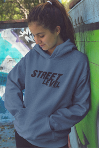 STREET LEVEL 1 Black Logo Gildan Hoodie - SWEASY STREET COLLECTION - FREE SHIPPING