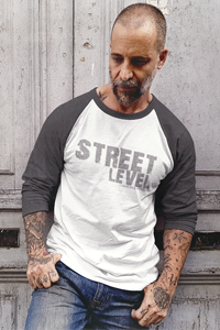 STREET LEVEL 1 Grey Logo Tultex 3/4 Sleeve Raglan Shirt - SWEASY STREET COLLECTION - FREE SHIPPING