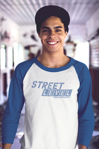 STREET LEVEL 2 Blue Logo Tultex 3/4 Sleeve Raglan Shirt - SWEASY STREET COLLECTION - FREE SHIPPING