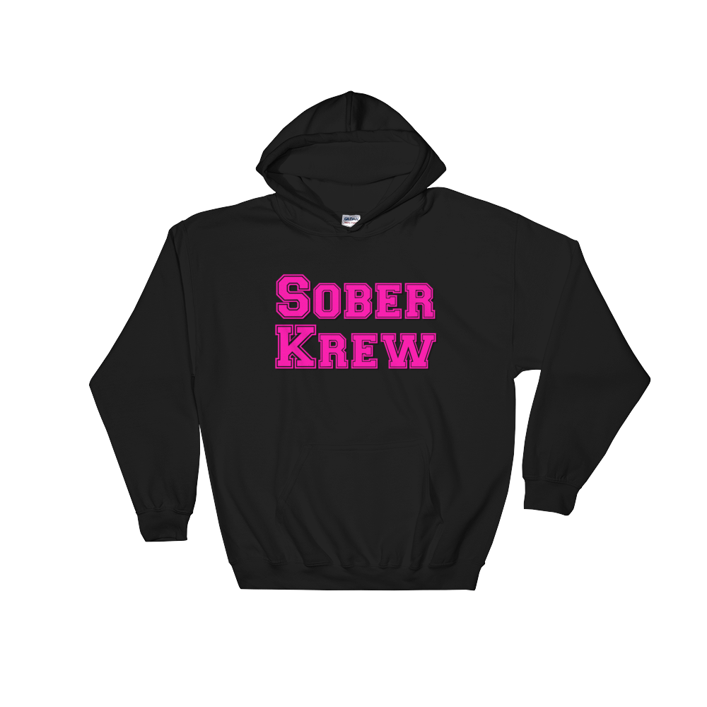 Sober Krew Pink Ladies' Gildan Hoodie - Nate Provost Sober Krew Collection