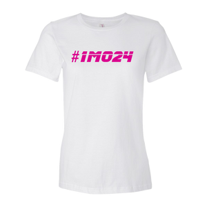 #1MO24 Pink Logo Ladies' Anvil T-shirt
