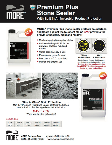 MORE™ Premium Plus Stone Sealer - w/Antimicrobial Protection