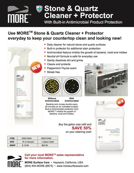 MORE™ Stone & Quartz Cleaner - w/Antimicrobial Protection