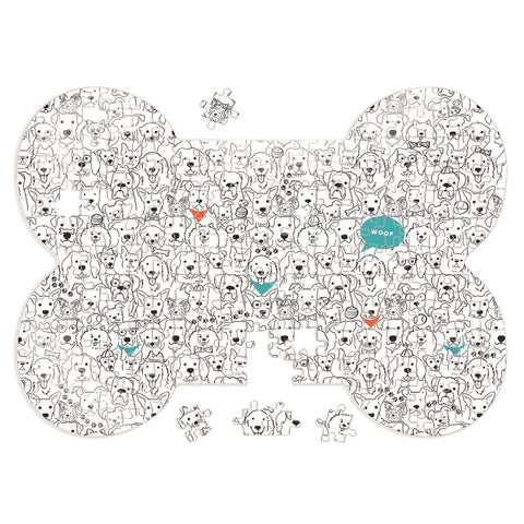 Dog Crew Bone Shaped 1000 Piece Puzzle
