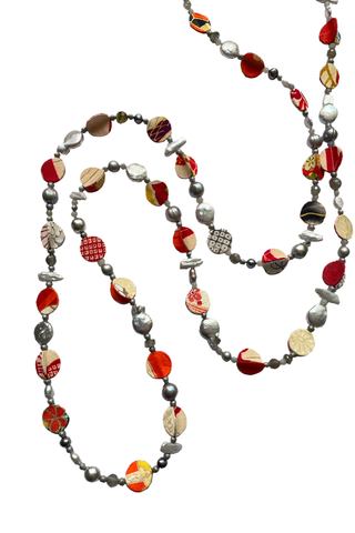 Kimono and freshwater pearl necklace by Ilene Sirota