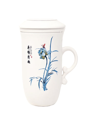 Tea Mug with Strainer and Lid, Lotus Flower