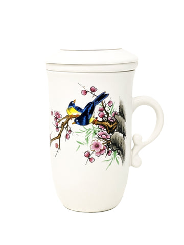 Tea Mug with Strainer and Lid, Birds and Cherry Blossom