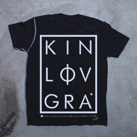 MENS <br> 'KIN LOV GRA' Graphic Box Inside-Out Tee