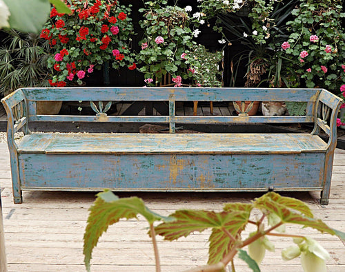 HUGE! OLD PINE/PAINTED HUNGARIAN BOX BENCH - oldpineshop.co.uk
