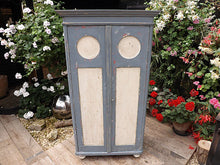 OLD  PINE & GREY/ WHITE PAINTED CUPBOARD - oldpineshop.co.uk