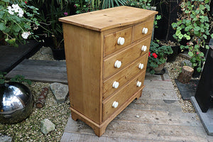 FABULOUS LARGE/ TALL/ SHALLOW OLD PINE CHEST OF DRAWERS/ SIDEBOARD - oldpineshop.co.uk