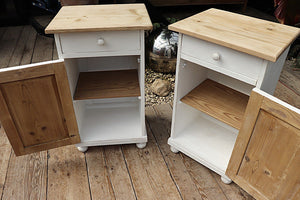 FAB PAIR OF OLD PINE/ WHITE PAINTED BEDSIDE CABINETS - oldpineshop.co.uk