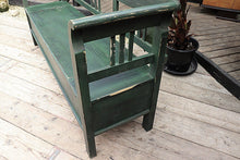 LOVELY OLD ANTIQUE STYLE PINE/ PAINTED DARK GREEN STORAGE BOX BENCH/SETTLE - oldpineshop.co.uk