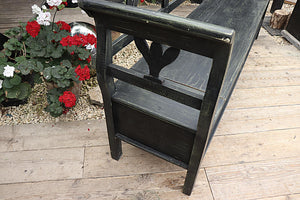 FAB! LARGE OLD  PINE/ BLACK PAINTED STORAGE BOX BENCH - oldpineshop.co.uk