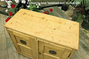 WOW! OLD STRIPPED PINE STORAGE CUPBOARD/TV STAND - oldpineshop.co.uk